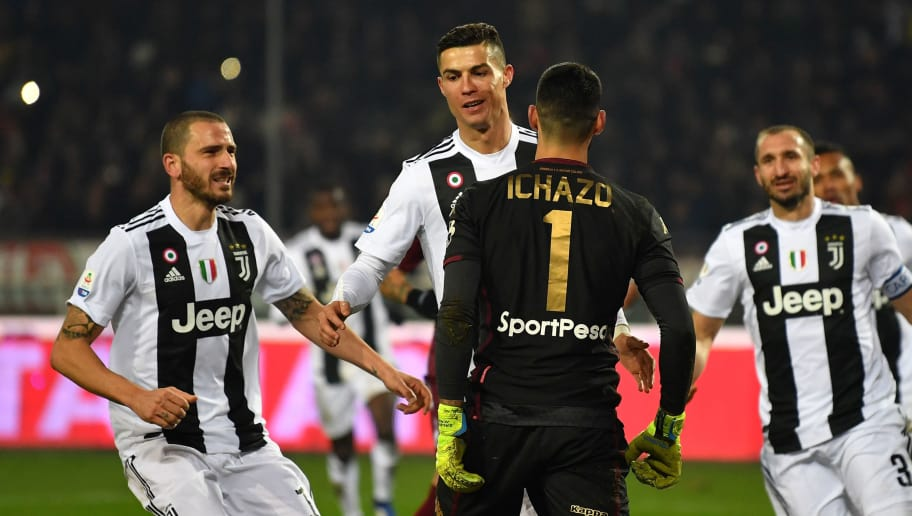 TURIN, ITALY - DECEMBER 15:  Cristiano Ronaldo of Juventus celebrates after scoring the opening goal from the penalty spot during the Serie A match between Torino FC and Juventus at Stadio Olimpico di Torino on December 15, 2018 in Turin, Italy.  (Photo by Valerio Pennicino/Getty Images)