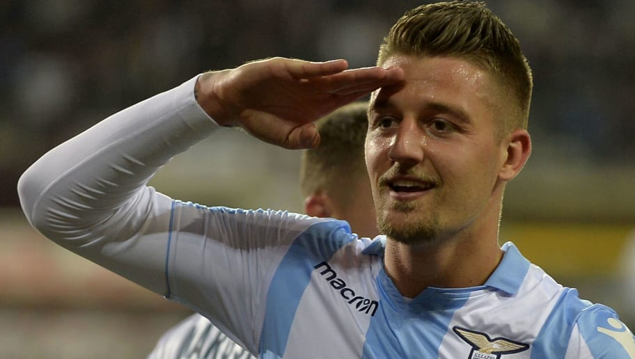TURIN, TORINO - APRIL 29:  Sergej Milinkovic Savic of SS Lazio celebrate a opening goal during the serie A match between Torino FC and SS Lazio at Stadio Olimpico di Torino on April 29, 2018 in Turin, Italy.  (Photo by Marco Rosi/Getty Images)