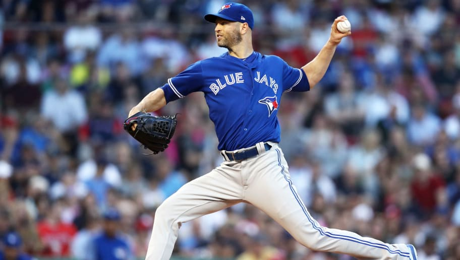 BOSTON, MA - JULY 12: J.A. Happ #33 of the Toronto Blue Jays pitches against the Boston Red Sox during the second inning at Fenway Park on July 12, 2018 in Boston, Massachusetts. (Photo by Maddie Meyer/Getty Images)
