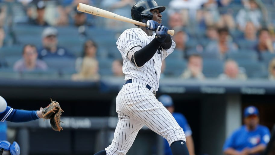 NEW YORK, NY - AUGUST 18:  Didi Gregorius #18 of the New York Yankees in action against the Toronto Blue Jays at Yankee Stadium on August 18, 2018 in the Bronx borough of New York City. The Yankees defeated the Blue Jays 11-6.  (Photo by Jim McIsaac/Getty Images)