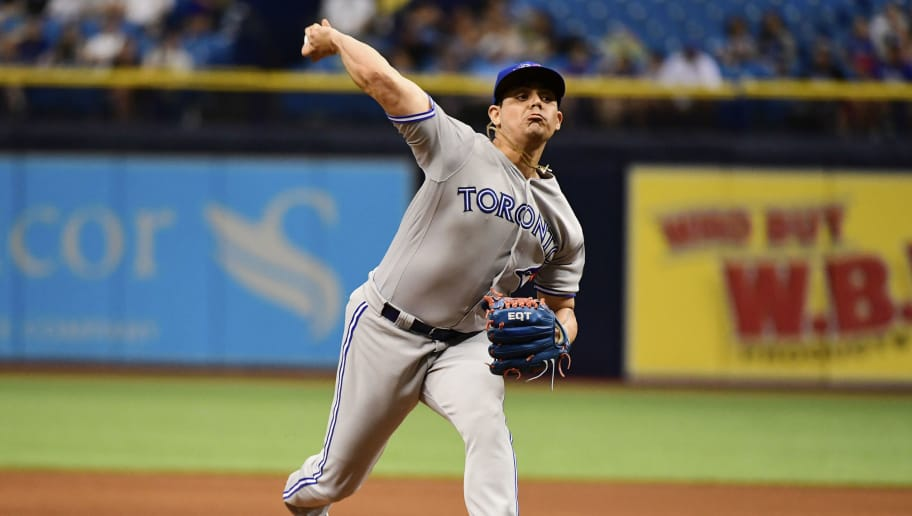 ST PETERSBURG, FL - MAY 6: Roberto Osuna #54 of the Toronto Blue Jays pitches during the ninth inning against the Tampa Bay Rays on May 6, 2018 at Tropicana Field in St Petersburg, Florida. The Toronto Blue Jays won 2-1. (Photo by Julio Aguilar/Getty Images)