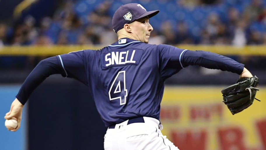 ST PETERSBURG, FL - SEPTEMBER 29: Blake Snell #4 of the Tampa Bay Rays throws a pitch in the second inning against the Toronto Blue Jays on September 29, 2018 at Tropicana Field in St Petersburg, Florida. (Photo by Julio Aguilar/Getty Images)