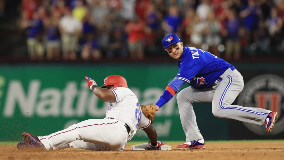 ARLINGTON, TX - JUNE 19:  Adrian Beltre #29 of the Texas Rangers slides safely into second base against Troy Tulowitzki #2 of the Toronto Blue Jays in the fourth inning at Globe Life Park in Arlington on June 19, 2017 in Arlington, Texas.  (Photo by Ronald Martinez/Getty Images)