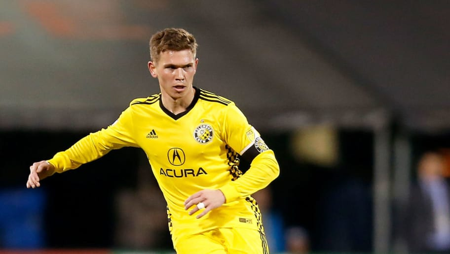 COLUMBUS, OH - NOVEMBER 21:  Wil Trapp #20 of the Columbus Crew SC controls the ball during the match against the Toronto FC at MAPFRE Stadium on November 21, 2017 in Columbus, Ohio. Columbus tied Toronto 0-0. (Photo by Kirk Irwin/Getty Images)