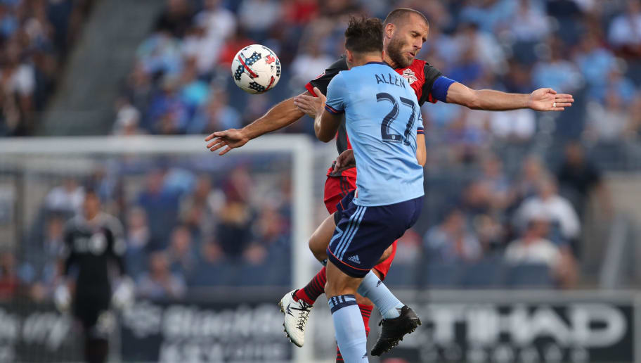 NEW YORK, NY - JULY 19: RJ Allen of New York City and Benoit Cheyrou of Toronto FC during MLS fixture between Toronto FC and New York City FC at Yankee Stadium on July 19, 2017 in New York City. (Photo by Robbie Jay Barratt - AMA/Getty Images)