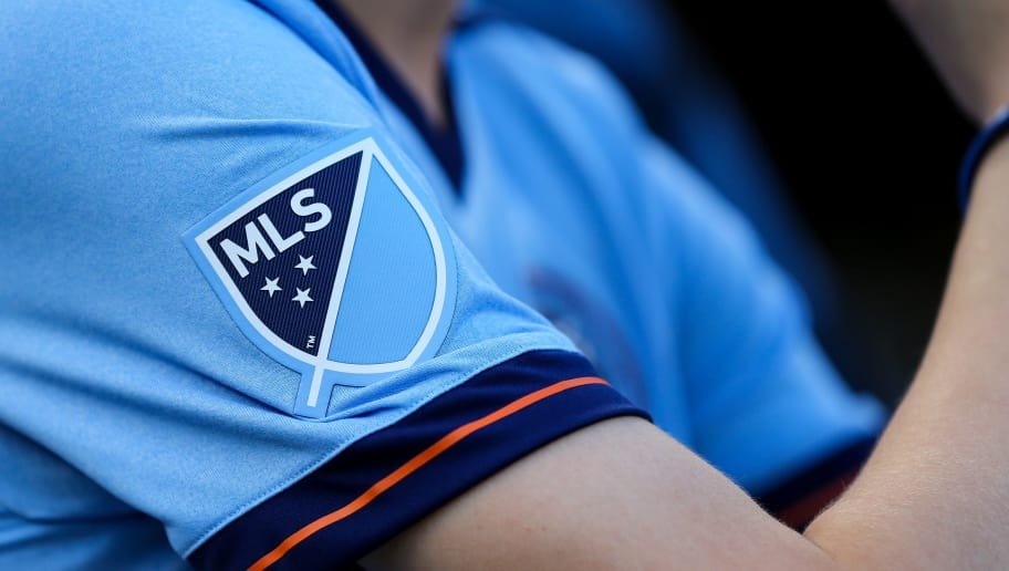 NEW YORK, NY - JULY 19: MLS, Major League Soccer branding on the sleeve of a fans New York City shirt during MLS fixture between Toronto FC and New York City FC at Yankee Stadium on July 19, 2017 in New York City. (Photo by Robbie Jay Barratt - AMA/Getty Images)