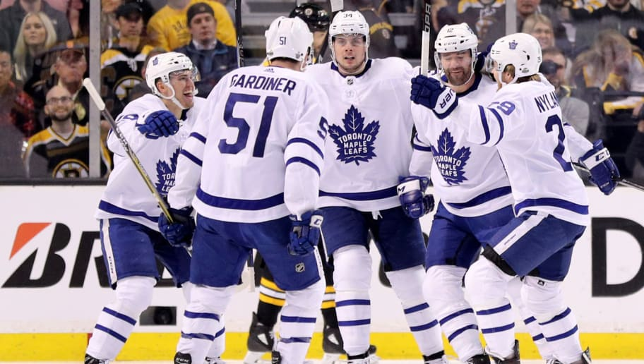 BOSTON, MA - APRIL 25: Patrick Marleau #12 of the Toronto Maple Leafs, second from left, celebrates with William Nylander #29, Auston Matthews #34, Jake Gardiner #51 and Andreas Johnsson #18 after scoring a goal against the Toronto Maple Leafs during the first period of Game Seven of the Eastern Conference First Round in the 2018 Stanley Cup play-offs at TD Garden on April 25, 2018 in Boston, Massachusetts. (Photo by Maddie Meyer/Getty Images)