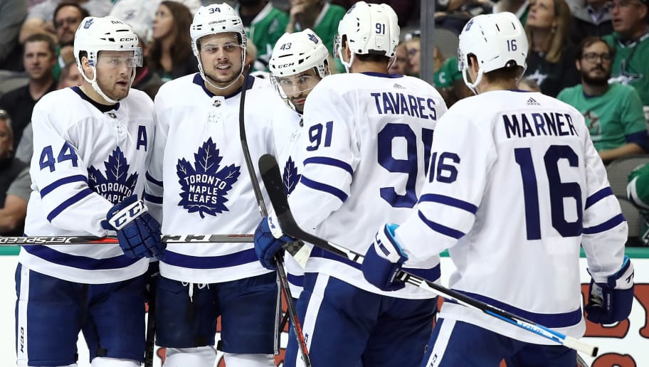 DALLAS, TX - OCTOBER 09:  (L-R) Morgan Rielly #44, Auston Matthews #34, Nazem Kadri #43, John Tavares #91 and Mitchell Marner #16 of the Toronto Maple Leafs celebrate the second goal of the game by Matthews against the Dallas Stars in the second period at American Airlines Center on October 9, 2018 in Dallas, Texas.  (Photo by Ronald Martinez/Getty Images)