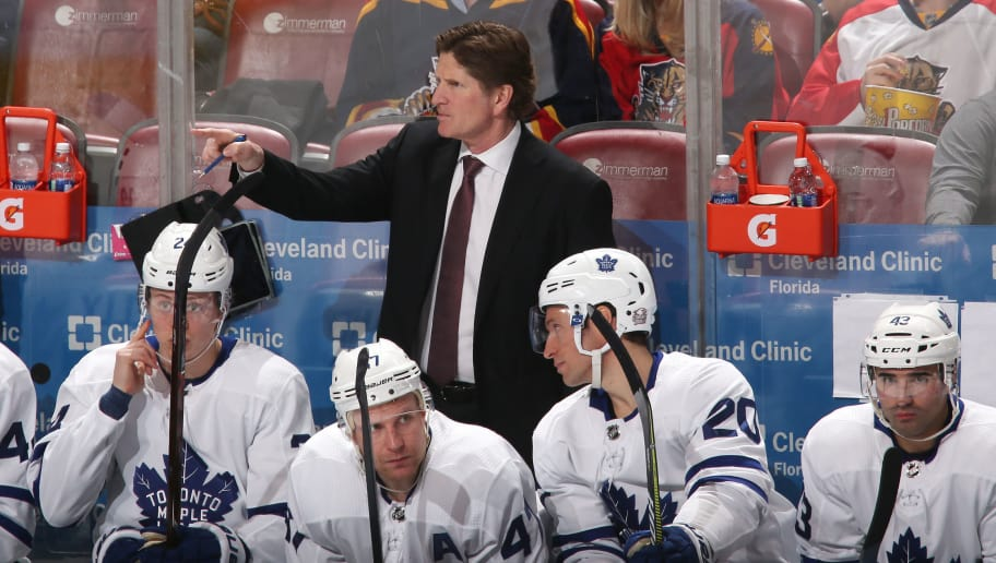SUNRISE, FL - FEBRUARY 27: Head coach Mike Babcock of the Toronto Maple Leafs directs the players during third period action against the Florida Panthers at the BB&T Center on February 27, 2018 in Sunrise, Florida. The Panthers defeated the Maple Leafs 3-2 in overtime. (Photo by Joel Auerbach/Getty Images)