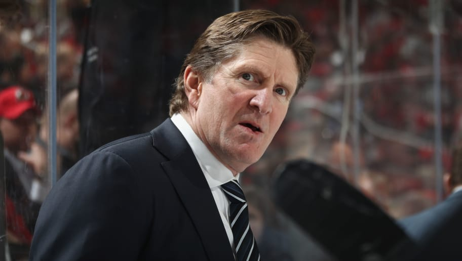 NEWARK, NJ - APRIL 05:  Mike Babcock of the Toronto Maple Leafs handles bench duties against the New Jersey Devils at the Prudential Center on April 5, 2018 in Newark, New Jersey. The Devils defeated the Maple Leafs 2-1 to clinch a playoff position.  (Photo by Bruce Bennett/Getty Images)
