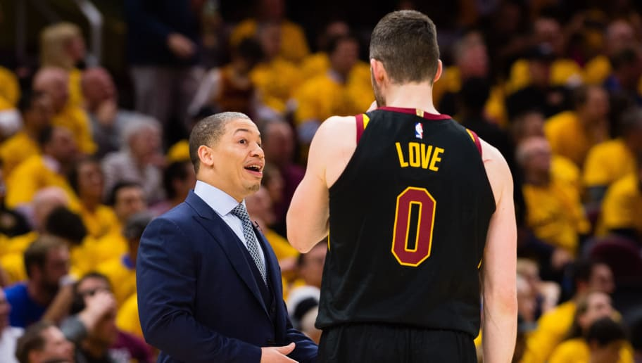 CLEVELAND, OH - MAY 7: Head coach Tyronn Lue of the Cleveland Cavaliers talks with Kevin Love #0 during the second half of Game 4 of the second round of the Eastern Conference playoffs against the Toronto Raptors at Quicken Loans Arena on May 7, 2018 in Cleveland, Ohio. The Cavaliers defeated the Raptors 128-93. NOTE TO USER: User expressly acknowledges and agrees that, by downloading and or using this photograph, User is consenting to the terms and conditions of the Getty Images License Agreement. (Photo by Jason Miller/Getty Images)