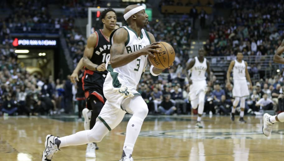 MILWAUKEE, WI - APRIL 22: Jason Terry #3 of the Milwaukee Bucks dribbles the up the court after stealing the basketball from DeMar DeRozan #10 of the Toronto Raptors defending during the first half of Game Four of the Eastern Conference Quarterfinals during the 2017 NBA Playoffs at the BMO Harris Bradley Center on April 22, 2017 in Milwaukee, Wisconsin. NOTE TO USER: User expressly acknowledges and agrees that, by downloading and or using the photograph, User is consenting to the terms and conditions of the Getty Images License Agreement. (Photo by Mike McGinnis/Getty Images)