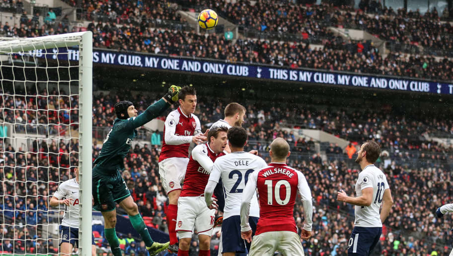 LONDON, ENGLAND - FEBRUARY 10: Petr Cech of Arsenal punches the ball under pressure during the Premier League match between Tottenham Hotspur and Arsenal at Wembley Stadium on February 10, 2018 in London, England. (Photo by Robbie Jay Barratt - AMA/Getty Images)