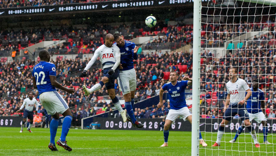 LONDON, ENGLAND - OCTOBER 06: Lucas Moura of Tottenham Hotspur with a header on goal during the Premier League match between Tottenham Hotspur and Cardiff City at Tottenham Hotspur Stadium on October 6, 2018 in London, United Kingdom. (Photo by Craig Mercer/MB Media/Getty Images)