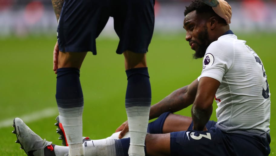 LONDON, ENGLAND - OCTOBER 06:  Danny Rose of Tottenham Hotspur reacts as he goes down injured during the Premier League match between Tottenham Hotspur and Cardiff City at Tottenham Hotspur Stadium on October 6, 2018 in London, United Kingdom.  (Photo by Catherine Ivill/Getty Images)
