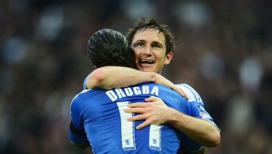 LONDON, ENGLAND - APRIL 15:  Frank Lampard of Chelsea celebrates with Didier Drogba as he scores their fourth goal from a free kick during the FA Cup with Budweiser Semi Final match between Tottenham Hotspur and Chelsea at Wembley Stadium on April 15, 2012 in London, England.  (Photo by Mike Hewitt/Getty Images)