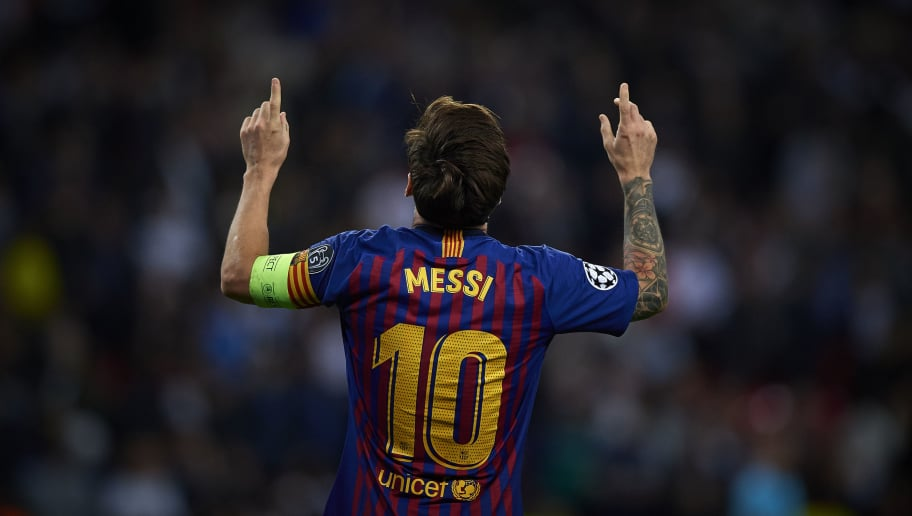 LONDON, ENGLAND - OCTOBER 03:  Lionel Messi of Barcelona celebrates after scoring a goal during the Group B match of the UEFA Champions League between Tottenham Hotspur and FC Barcelona at Wembley Stadium on October 3, 2018 in London, United Kingdom.  (Photo by Quality Sport Images/Getty Images)