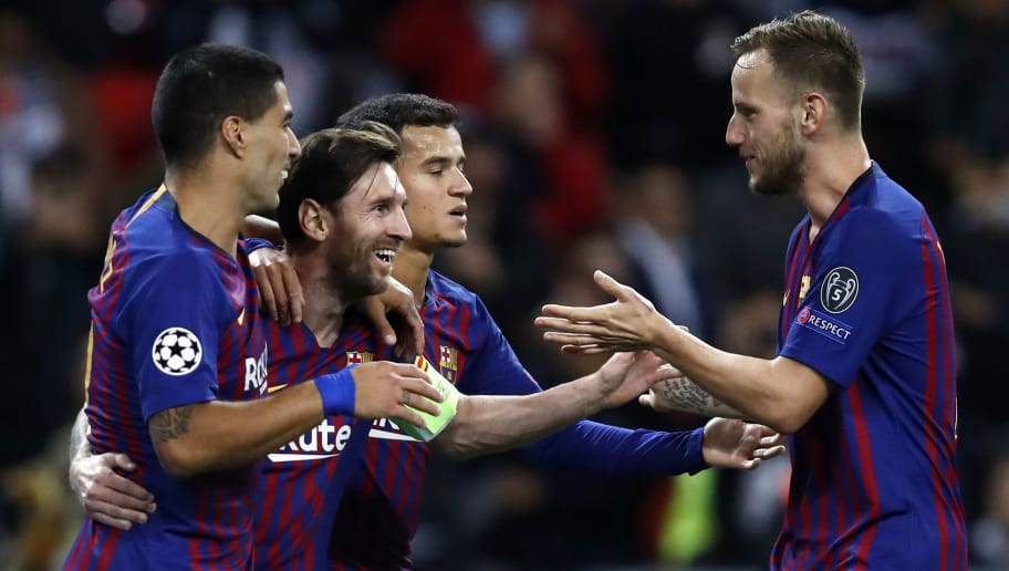 LONDON, ENGLAND - OCTOBER 03:  Lionel Messi of Barcelona celebrates after scoring his team's third goal with teammates Luis Suarez, Philippe Coutinho and Ivan Rakitic during the Group B match of the UEFA Champions League between Tottenham Hotspur and FC Barcelona at Wembley Stadium on October 3, 2018 in London, United Kingdom.  (Photo by Julian Finney/Getty Images)