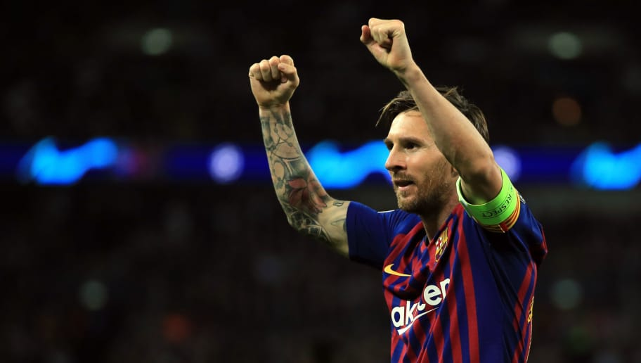 LONDON, ENGLAND - OCTOBER 03: Lionel Messi of FC Barcelona celebrates during the Group B match of the UEFA Champions League between Tottenham Hotspur and FC Barcelona at Wembley Stadium on October 3, 2018 in London, United Kingdom. (Photo by Marc Atkins/Getty Images)