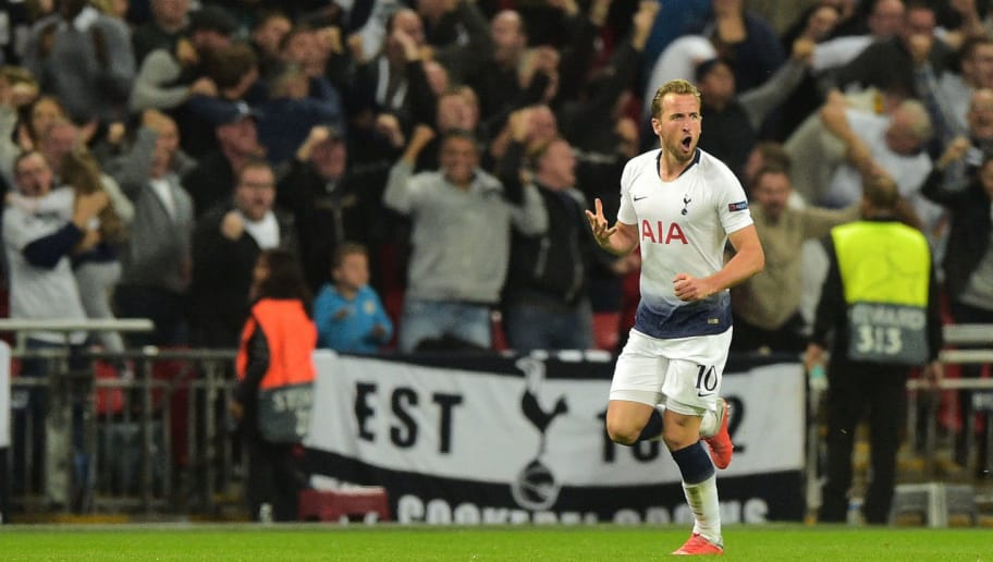 LONDON, ENGLAND - OCTOBER 03: Harry Kane of Tottenham celebrates after scoring his sides first goal during the Group B match of the UEFA Champions League between Tottenham Hotspur and FC Barcelona at Wembley Stadium on October 3, 2018 in London, United Kingdom. (Photo by TF-Images/TF-Images via Getty Images)