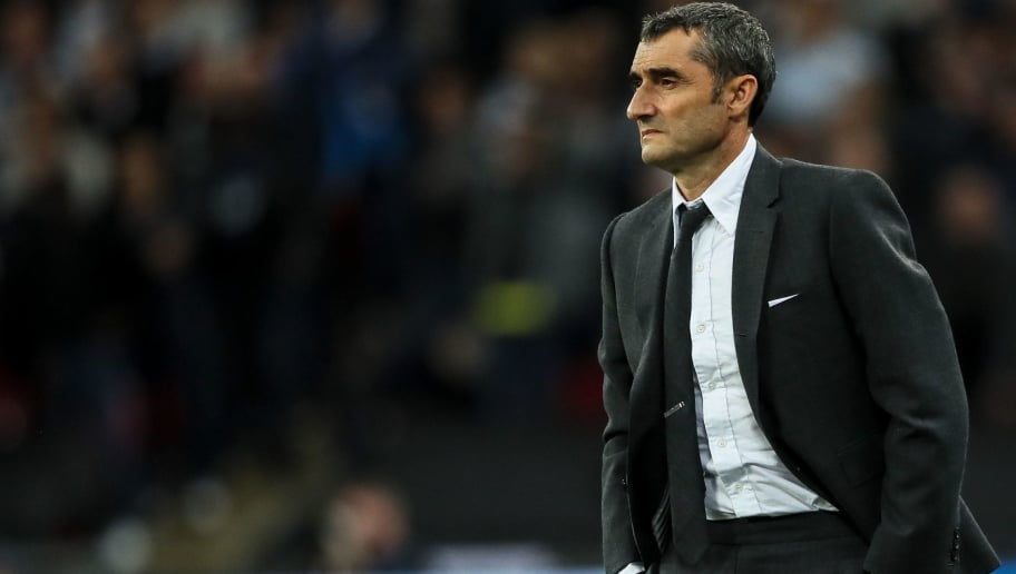 LONDON, ENGLAND - OCTOBER 03: Ernesto Valverde the head coach / manager of FC Barcelona during the Group B match of the UEFA Champions League between Tottenham Hotspur and FC Barcelona at Wembley Stadium on October 3, 2018 in London, United Kingdom. (Photo by Matthew Ashton - AMA/Getty Images)
