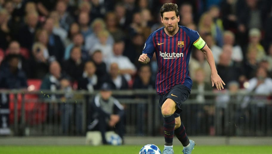 LONDON, ENGLAND - OCTOBER 03: Lionel Messi of Barcelona  controls the ball   during the Group B match of the UEFA Champions League between Tottenham Hotspur and FC Barcelona at Wembley Stadium on October 3, 2018 in London, United Kingdom. (Photo by TF-Images/TF-Images via Getty Images)