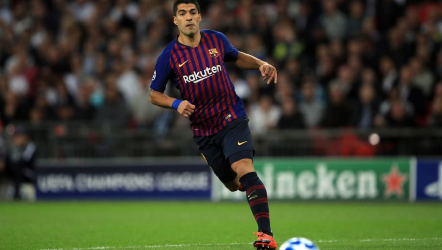 LONDON, ENGLAND - OCTOBER 03: Luis Suarez of FC Barcelona during the Group B match of the UEFA Champions League between Tottenham Hotspur and FC Barcelona at Wembley Stadium on October 3, 2018 in London, United Kingdom. (Photo by Marc Atkins/Getty Images)