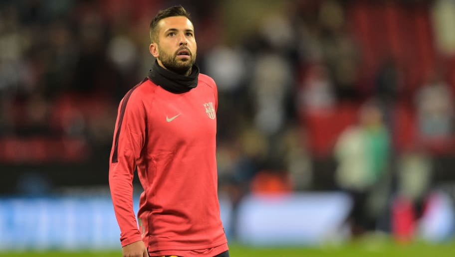 LONDON, ENGLAND - OCTOBER 03: Jordi Alba of Barcelona looks on duringthe Group B match of the UEFA Champions League between Tottenham Hotspur and FC Barcelona at Wembley Stadium on October 3, 2018 in London, United Kingdom. (Photo by TF-Images/TF-Images via Getty Images)