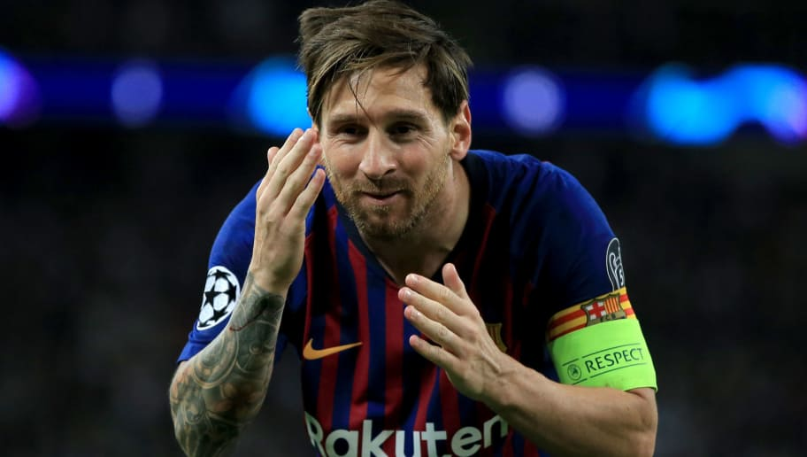 LONDON, ENGLAND - OCTOBER 03: Lionel Messi of FC Barcelona celebrates scoring their 4th goal during the Group B match of the UEFA Champions League between Tottenham Hotspur and FC Barcelona at Wembley Stadium on October 3, 2018 in London, United Kingdom. (Photo by Marc Atkins/Getty Images)