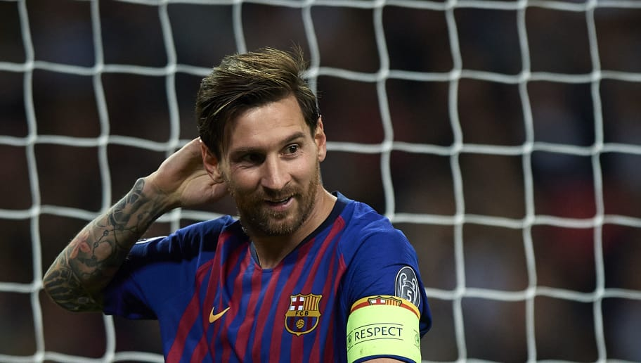 LONDON, ENGLAND - OCTOBER 03:  Lionel Messi of Barcelona reacts during the Group B match of the UEFA Champions League between Tottenham Hotspur and FC Barcelona at Wembley Stadium on October 3, 2018 in London, United Kingdom.  (Photo by Quality Sport Images/Getty Images)