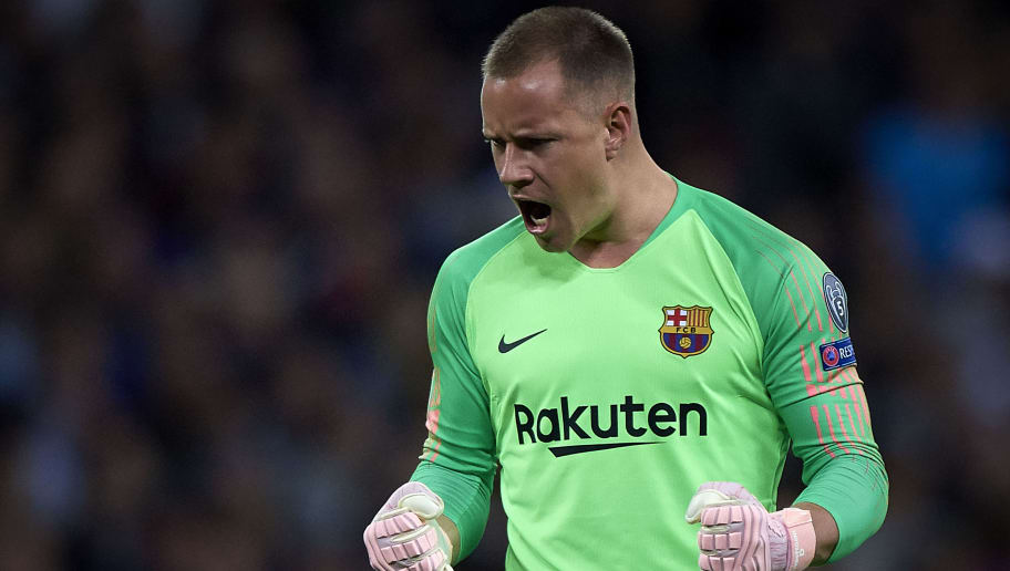 LONDON, ENGLAND - OCTOBER 03:  Ter Stegen goalkeeper of Barcelona celebrates his team first goal during the Group B match of the UEFA Champions League between Tottenham Hotspur and FC Barcelona at Wembley Stadium on October 3, 2018 in London, United Kingdom.  (Photo by Quality Sport Images/Getty Images)