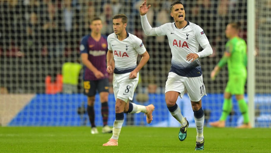 LONDON, ENGLAND - OCTOBER 03: Erik Lamela of Tottenham celebrates after scoring his sides second goal during the Group B match of the UEFA Champions League between Tottenham Hotspur and FC Barcelona at Wembley Stadium on October 3, 2018 in London, United Kingdom. (Photo by TF-Images/TF-Images via Getty Images)