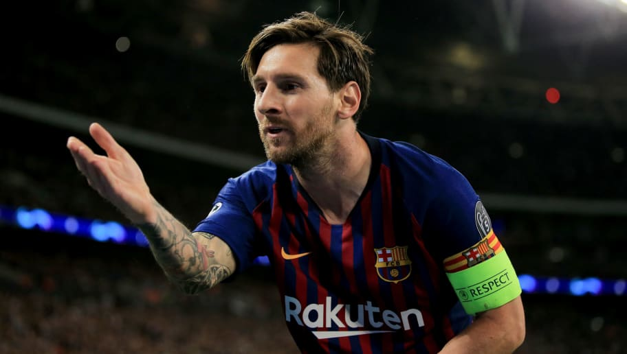 LONDON, ENGLAND - OCTOBER 03: Lionel Messi of FC Barcelona celebrates scoring their 3rd goal during the Group B match of the UEFA Champions League between Tottenham Hotspur and FC Barcelona at Wembley Stadium on October 3, 2018 in London, United Kingdom. (Photo by Marc Atkins/Getty Images)