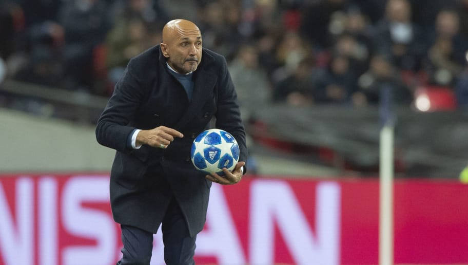 LONDON, ENGLAND - NOVEMBER 28: Luciano Spalletti of Milano gestures during the UEFA Champions League Group B match between Tottenham Hotspur and FC Internazionale at Wembley Stadium on November 28, 2018 in London, United Kingdom. (Photo by TF-Images/TF-Images via Getty Images)