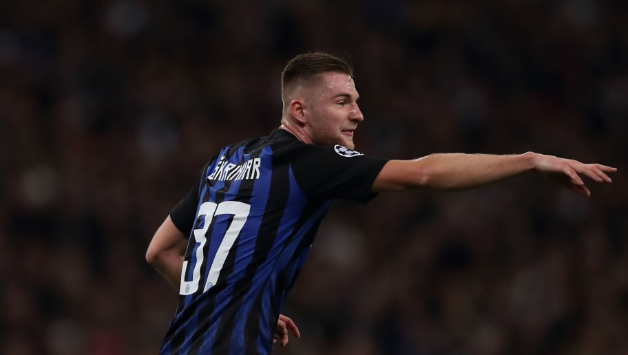 LONDON, ENGLAND - NOVEMBER 28: Milan Skriniar of FC Internazionale during the Group B match of the UEFA Champions League between Tottenham Hotspur and FC Internazionale at Wembley Stadium on November 28, 2018 in London, United Kingdom. (Photo by James Williamson - AMA/Getty Images)