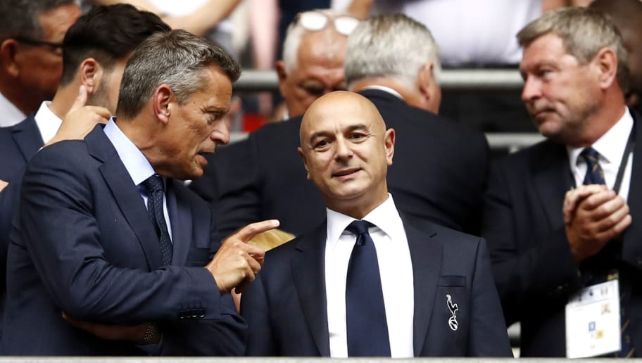 LONDON, ENGLAND - AUGUST 18: Tottenham Hotspur Chairman Daniel Levy looks on prior to the Premier League match between Tottenham Hotspur and Fulham FC at Wembley Stadium on August 18, 2018 in London, United Kingdom.  (Photo by Julian Finney/Getty Images)