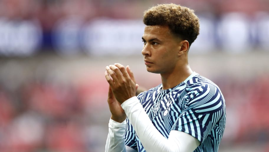 LONDON, ENGLAND - AUGUST 18:  Dele Alli of Tottenham Hotspur applauds fans ahead of the Premier League match between Tottenham Hotspur and Fulham FC at Wembley Stadium on August 18, 2018 in London, United Kingdom.  (Photo by Julian Finney/Getty Images)
