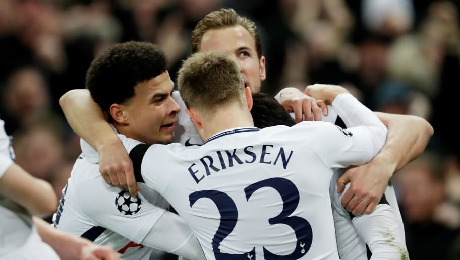LONDON, UNITED KINGDOM - MARCH 7: Heung Min Son of Tottenham Hotspur celebrates 1-0 with Dele Alli of Tottenham Hotspur, Vincent Janssen of Tottenham Hotspur, Christian Eriksen of Tottenham Hotspur  during the UEFA Champions League  match between Tottenham Hotspur v Juventus at the Wembley Stadium on March 7, 2018 in London United Kingdom (Photo by Laurens Lindhout/Soccrates/Getty Images)