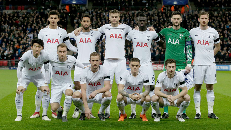 LONDON, UNITED KINGDOM - MARCH 7: teamphoto of Tottenham Hotspur back row (L-R) Dele Alli of Tottenham Hotspur, Mousa Dembele of Tottenham Hotspur, Eric Dier of Tottenham Hotspur, Davinson Sanchez of Tottenham Hotspur, Hugo Lloris of Tottenham Hotspur, Jan Vertonghen of Tottenham Hotspur front row (L-R) Heung Min Son of Tottenham Hotspur, Christian Eriksen of Tottenham Hotspur, Harry Kane of Tottenham Hotspur, Kieran Trippier of Tottenham Hotspur, Ben Davies of Tottenham Hotspur during the UEFA Champions League  match between Tottenham Hotspur v Juventus at the Wembley Stadium on March 7, 2018 in London United Kingdom (Photo by Laurens Lindhout/Soccrates/Getty Images)