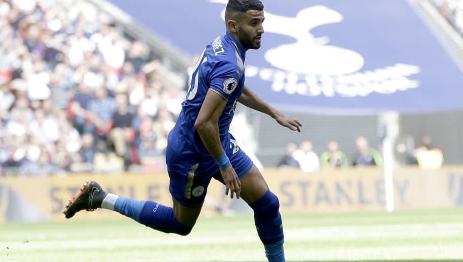 LONDON, ENGLAND - MAY 13:  Riyad Mahrez of Leiccester City elbrates after scoring his sides second goal during the Premier League match between Tottenham Hotspur and Leicester City at Wembley Stadium on May 13, 2018 in London, England.  (Photo by Henry Browne/Getty Images)
