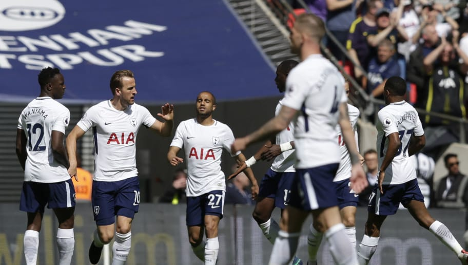 LONDON, ENGLAND - MAY 13:  Harry Kane of Tottenham Hotspur celebrates with teammates after scoring his sides first goal during the Premier League match between Tottenham Hotspur and Leicester City at Wembley Stadium on May 13, 2018 in London, England.  (Photo by Henry Browne/Getty Images)