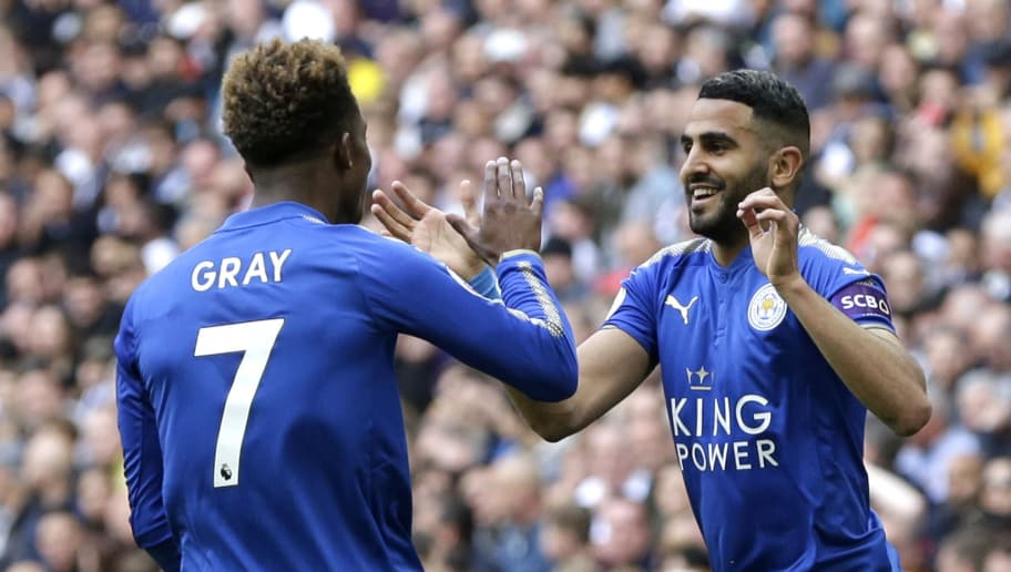 LONDON, ENGLAND - MAY 13:  Riyad Mahrez of Leicester City celebrates scoring his sides second goal with team mate Demarai Gray of Leicester City during the Premier League match between Tottenham Hotspur and Leicester City at Wembley Stadium on May 13, 2018 in London, England.  (Photo by Henry Browne/Getty Images)