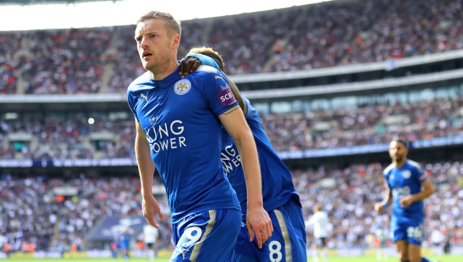LONDON, ENGLAND - MAY 13:  Jamie Vardy of Leicester City celebrtes after scoring his side third goal during the Premier League match between Tottenham Hotspur and Leicester City at Wembley Stadium on May 13, 2018 in London, England.  (Photo by Warren Little/Getty Images)