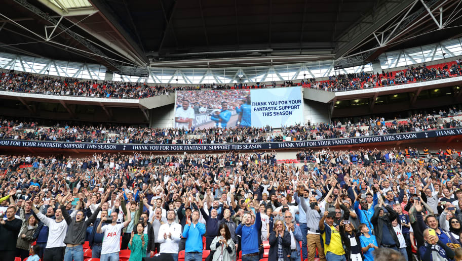 LONDON, ENGLAND - MAY 13:  A general view as fans celebrates during the lap of honour during the Premier League match between Tottenham Hotspur and Leicester City at Wembley Stadium on May 13, 2018 in London, England.  (Photo by Warren Little/Getty Images)