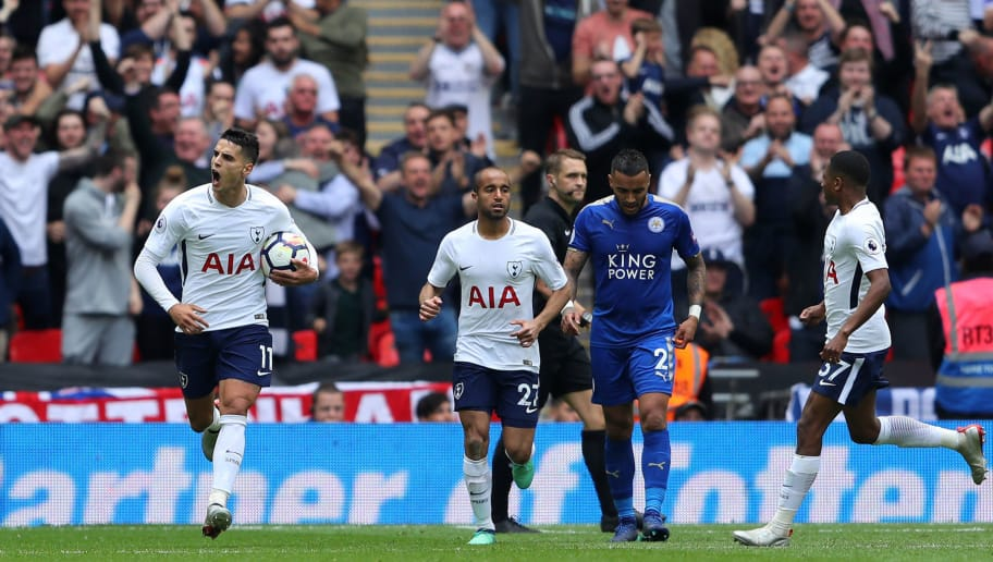 LONDON, ENGLAND - MAY 13:  Erik Lamela of Tottenham Hotspur celebrates after scoring his sides third goal during the Premier League match between Tottenham Hotspur and Leicester City at Wembley Stadium on May 13, 2018 in London, England.  (Photo by Warren Little/Getty Images)