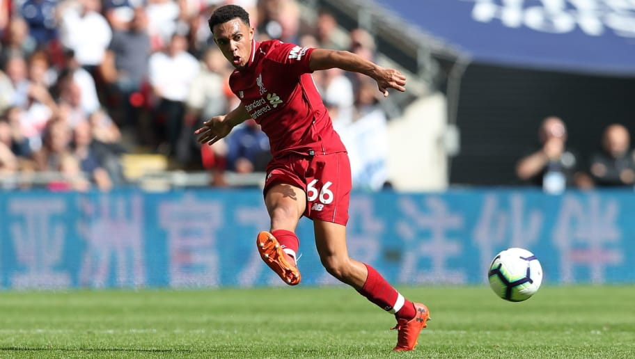 LONDON, ENGLAND - SEPTEMBER 15: Trent Alexander-Arnold of Liverpool during the Premier League match between Tottenham Hotspur and Liverpool FC at Wembley Stadium on September 15, 2018 in London, United Kingdom. (Photo by James Williamson - AMA/Getty Images)
