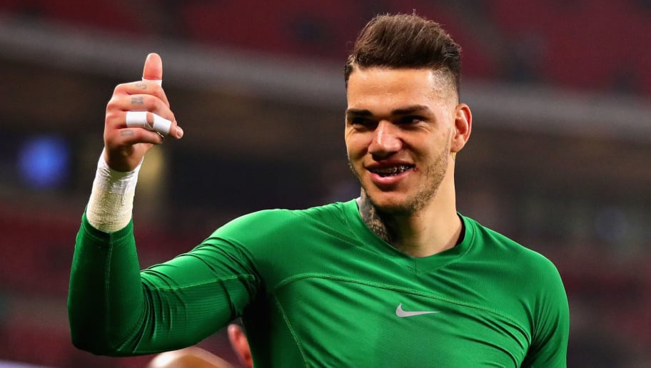 LONDON, ENGLAND - APRIL 14:  Ederson of Manchester City celebrates after the Premier League match between Tottenham Hotspur and Manchester City at Wembley Stadium on April 14, 2018 in London, England.  (Photo by Chris Brunskill Ltd/Getty Images)