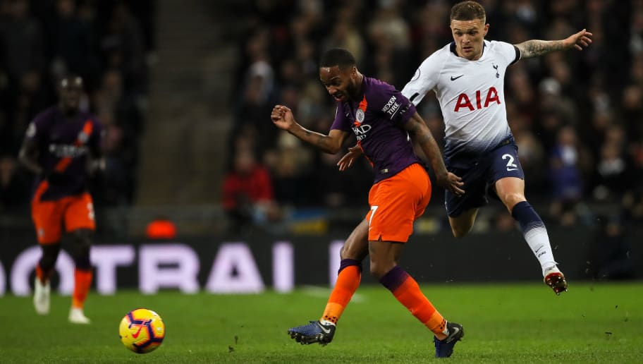 LONDON, ENGLAND - OCTOBER 29: Raheem Sterling of Manchester City and Kieran Trippier of Tottenham Hotspur during the Premier League match between Tottenham Hotspur and Manchester City at Tottenham Hotspur Stadium on October 29, 2018 in London, United Kingdom. (Photo by Matthew Ashton - AMA/Getty Images)