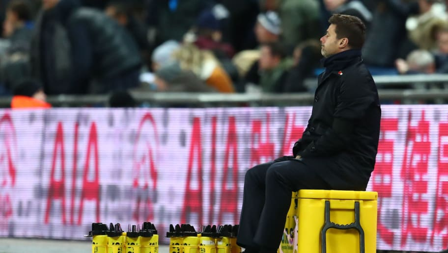 LONDON, ENGLAND - OCTOBER 29:  Mauricio Pochettino, Manager of Tottenham Hotspur reacts during the Premier League match between Tottenham Hotspur and Manchester City at Wembley Stadium on October 29, 2018 in London, United Kingdom.  (Photo by Clive Rose/Getty Images)
