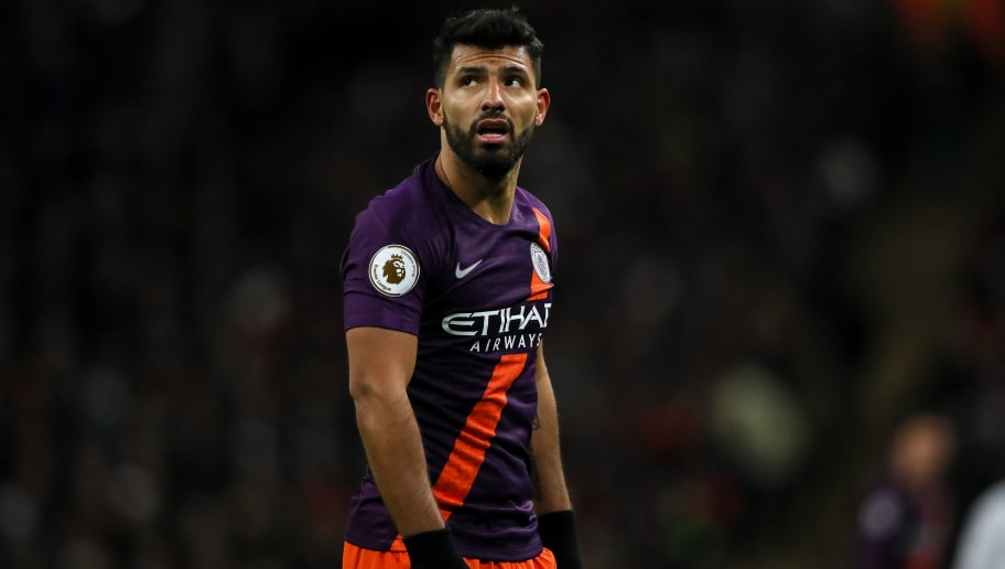 LONDON, ENGLAND - OCTOBER 29: Sergio Aguero of Manchester City during the Premier League match between Tottenham Hotspur and Manchester City at Tottenham Hotspur Stadium on October 29, 2018 in London, United Kingdom. (Photo by Matthew Ashton - AMA/Getty Images)